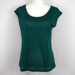 New York & Company Green Striped Short Sleeve Top